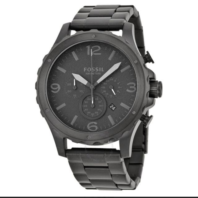 cc3a66d7b16 Fossil Nate Chronograph Black Dial Black Stainless Steel Men s Watch ...