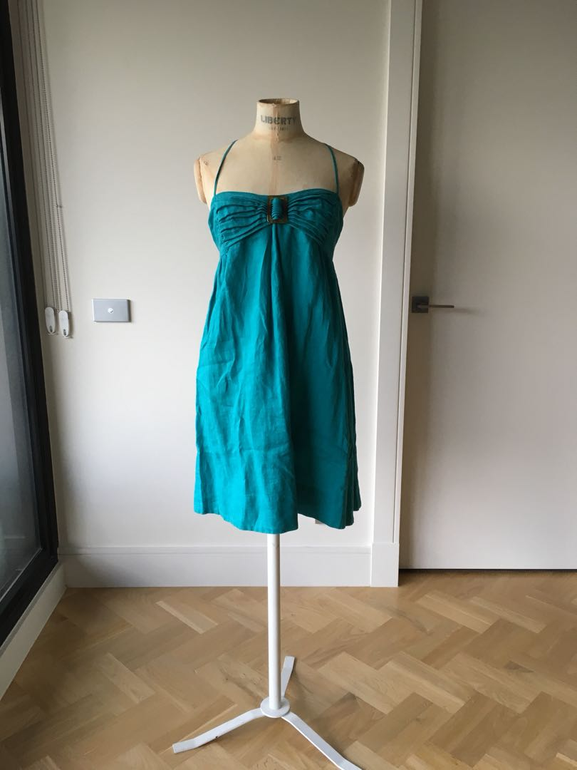 French connection - size 8 - linen dress - teal
