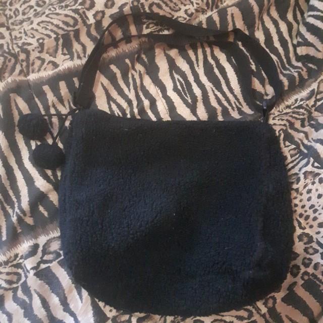 Furry pom pom purse bag
