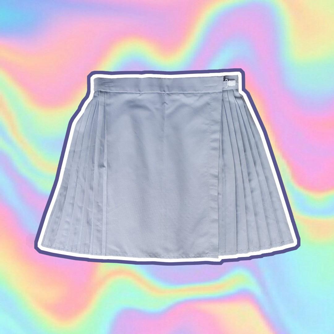 Grey High Waist Knife-Pleated Wrap Skirt