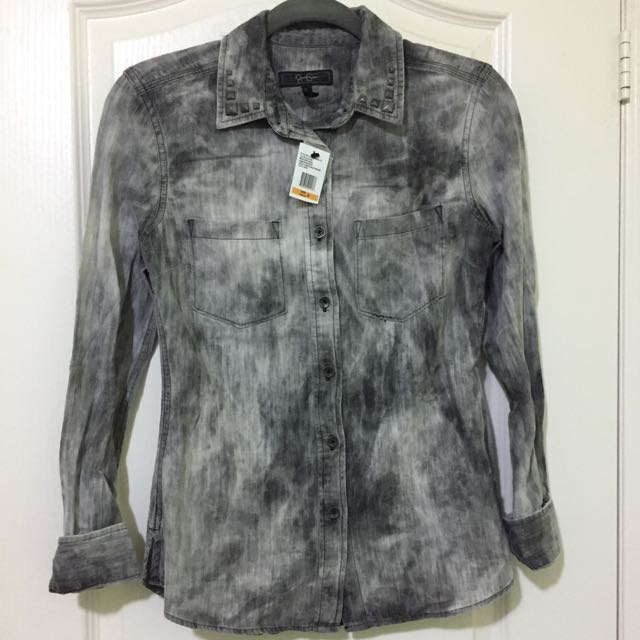 Grey jean acid wash shirt