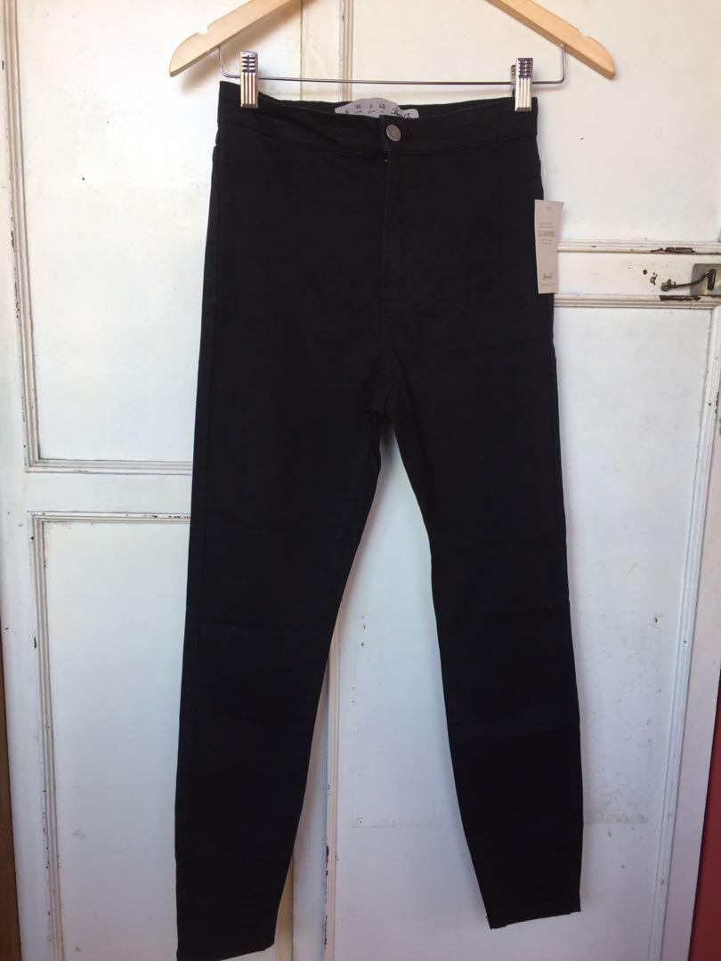 High Waist DENIM CO Jegging Pants  Black