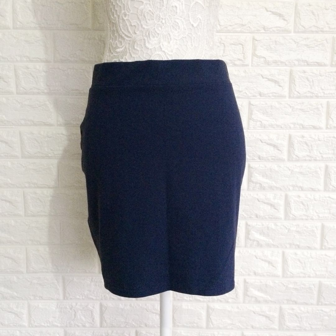 H&M naby blue bodycon skirt