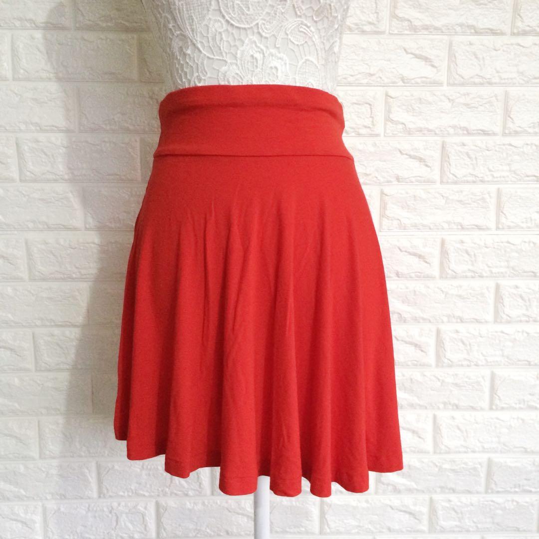H&M red skater skirt