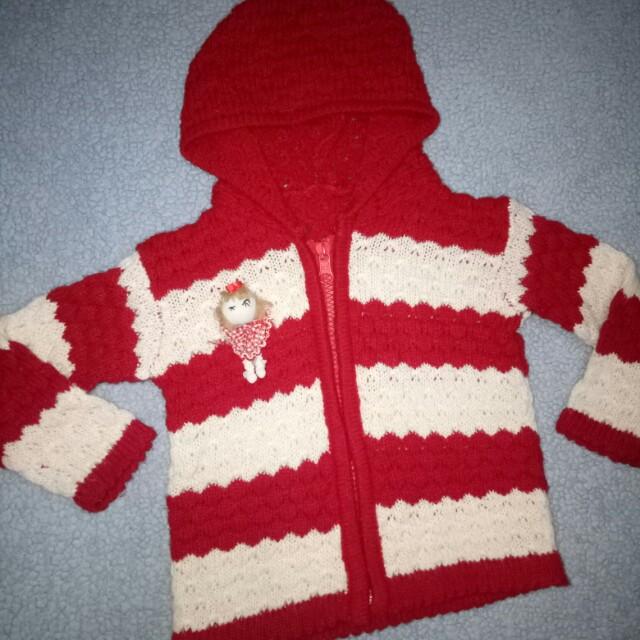 Jaket rajut anak bayi perempuan merah putih