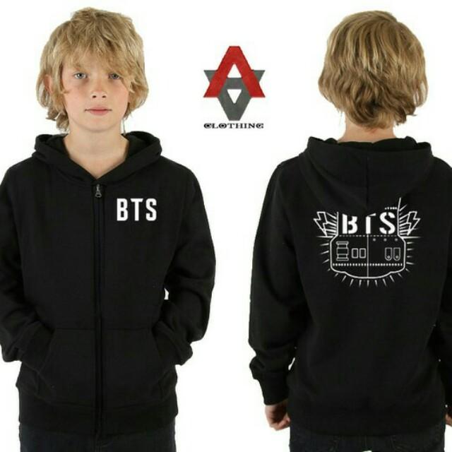Jaket Sweater Hoodie Anak-Anak BTS - Hitam - Al-Ayubi Clothing, Babies & Kids, Boys' Apparel on Carousell