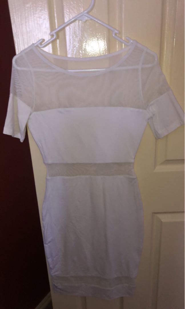 Kookai white mesh lyrca dress