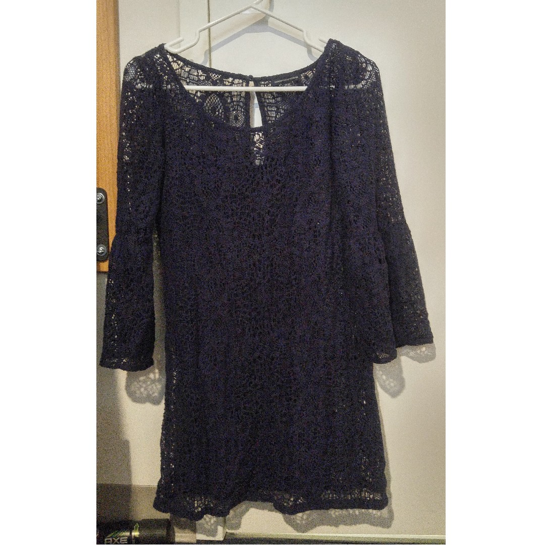 Lace layered navy dress with flared sleeves