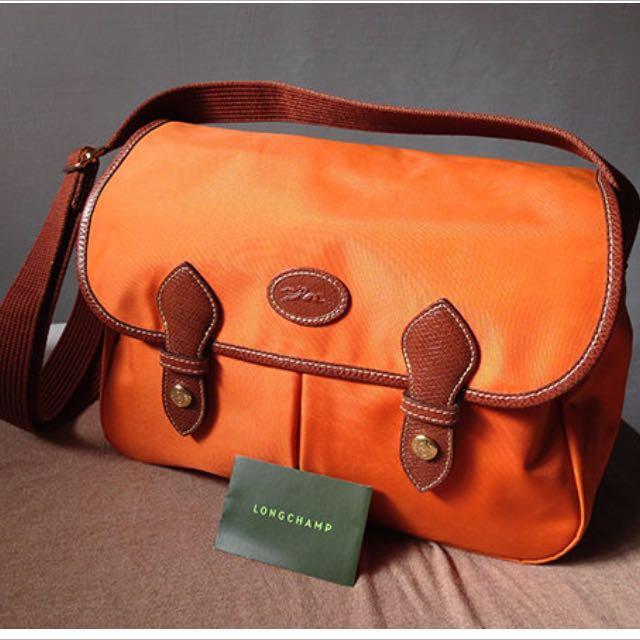 Longchamp 郵差包 橘色 法國製 附紙袋
