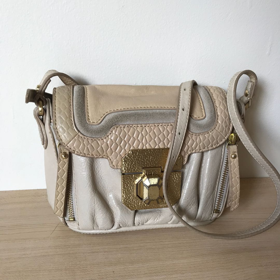 Mimco beige cross body leather bag