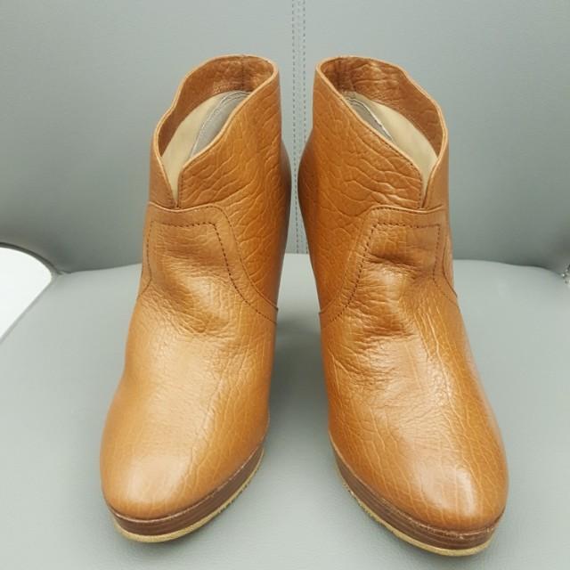 🎀Miss sofi 🎀淺咖真皮高跟短靴/踝靴