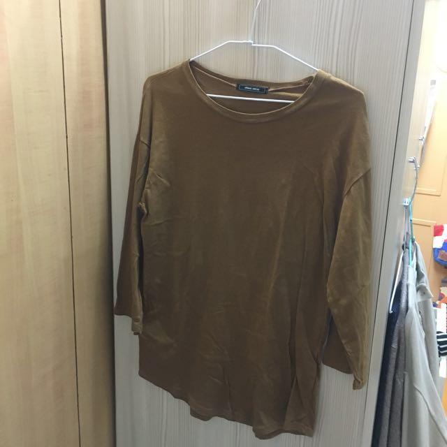 Mooncat咖啡色薄七分袖上衣