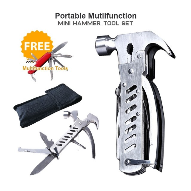 Multi function portable folding hammer pliers tools