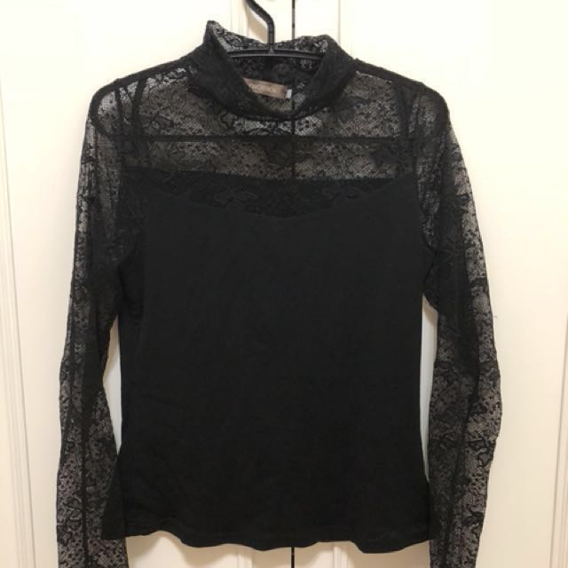 Nice ioi-黑色透膚上衣