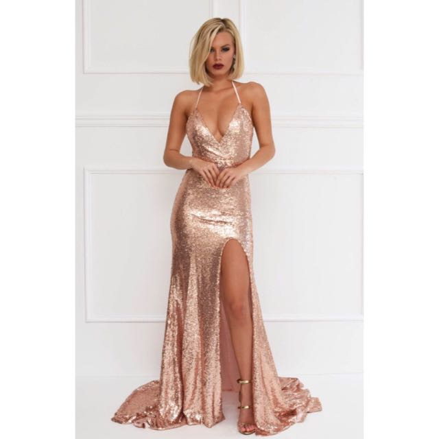 Noodz Boutique Rose Gold Estellina Sequin Ball Dress