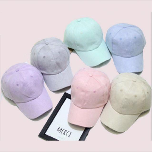9f95ef845b5 ON SALE! Pastel suede caps
