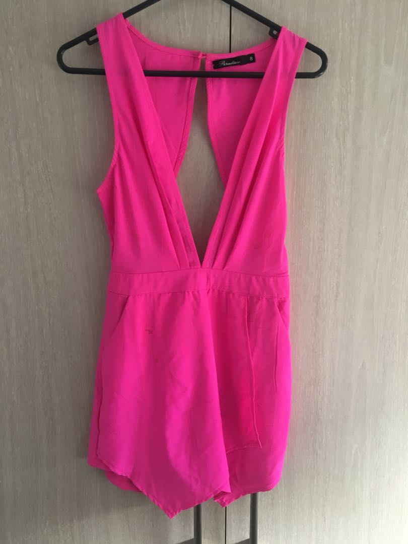 Pink backless size 8 jumpsuit
