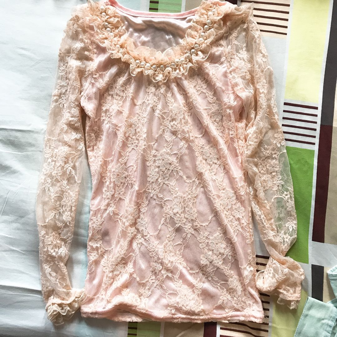 Pink Pearl & Lace Top
