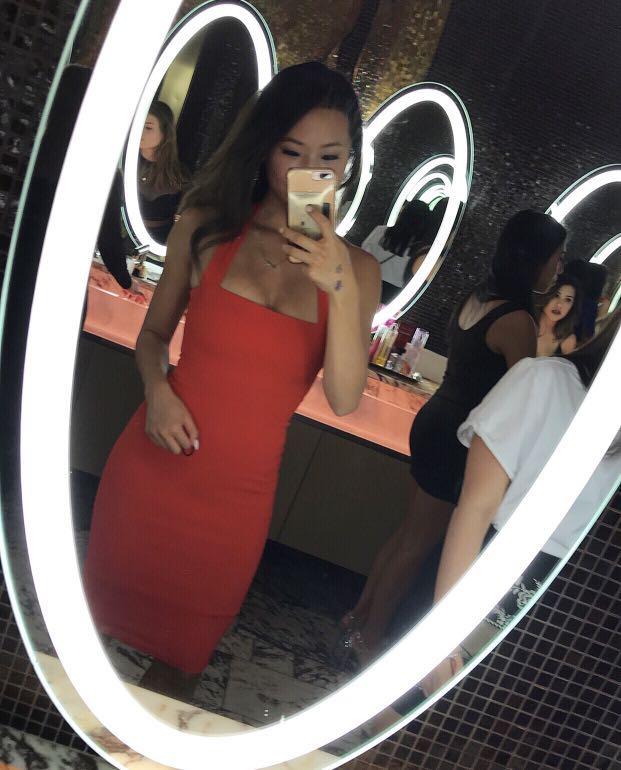 Piper Lane - Red Portia Halter neck dress