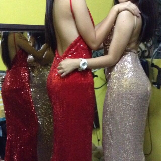 red and gold long gown for rent