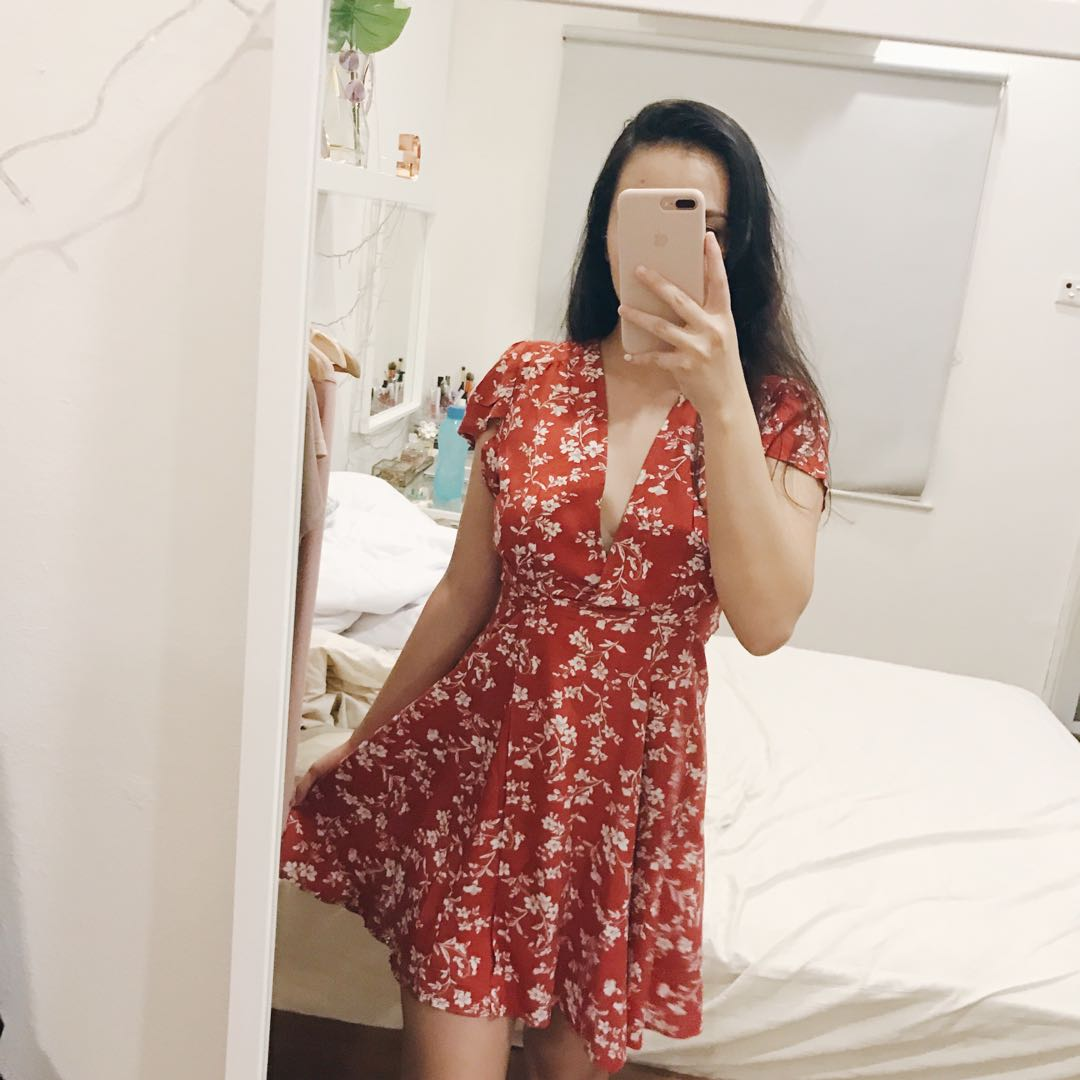 Red Floral Wrap Dress