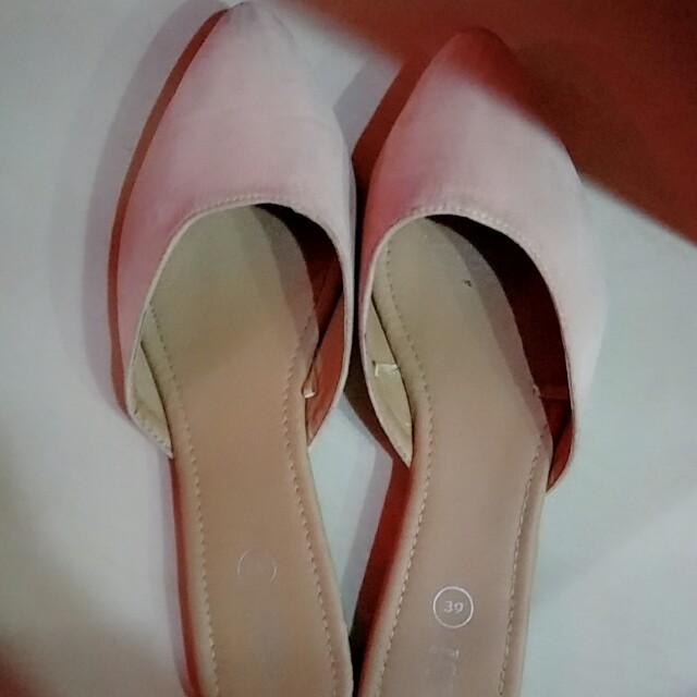 Rubi suede dusty light pink pointed slides