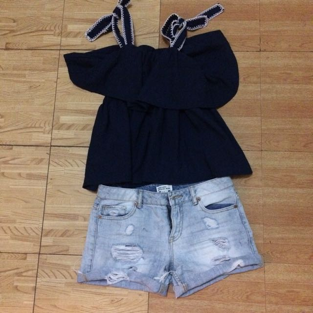 Set: Forever 21 Ripped Denim Shorts and Dark Blue Tie Up Blouse