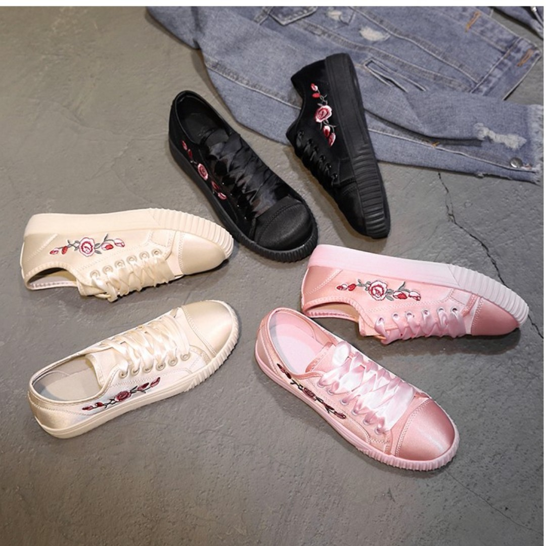 SILK SNEAKERS WITH RIBBONS