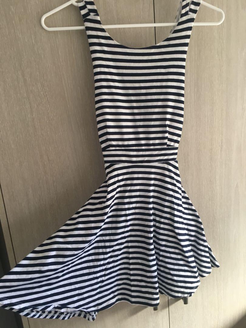Size 8 Criss cross back blue and white stripe mini dress