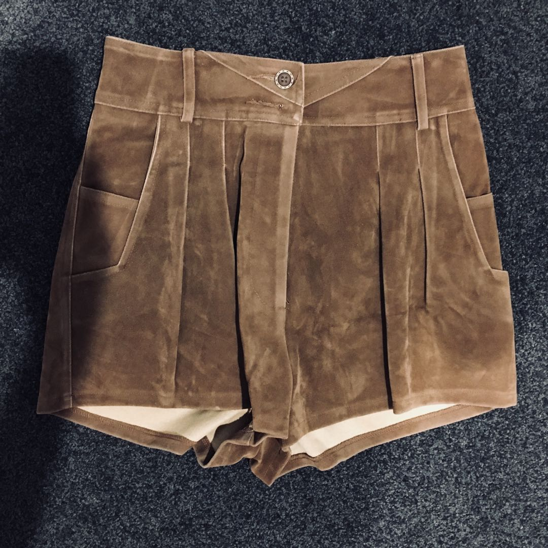 Suede high waisted brown shorts