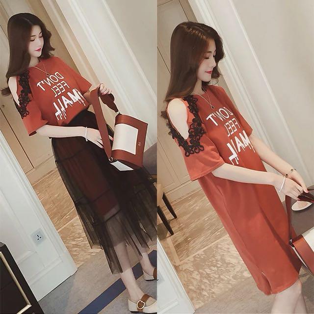 韓版夏季兩件式套裝露肩長版T恤高腰網紗半身裙長裙