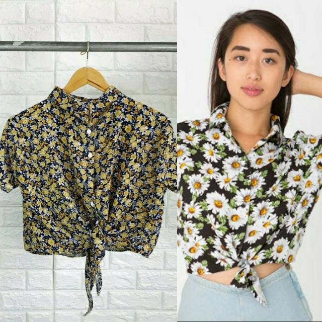 Tie Knot Button Down Crop Polo