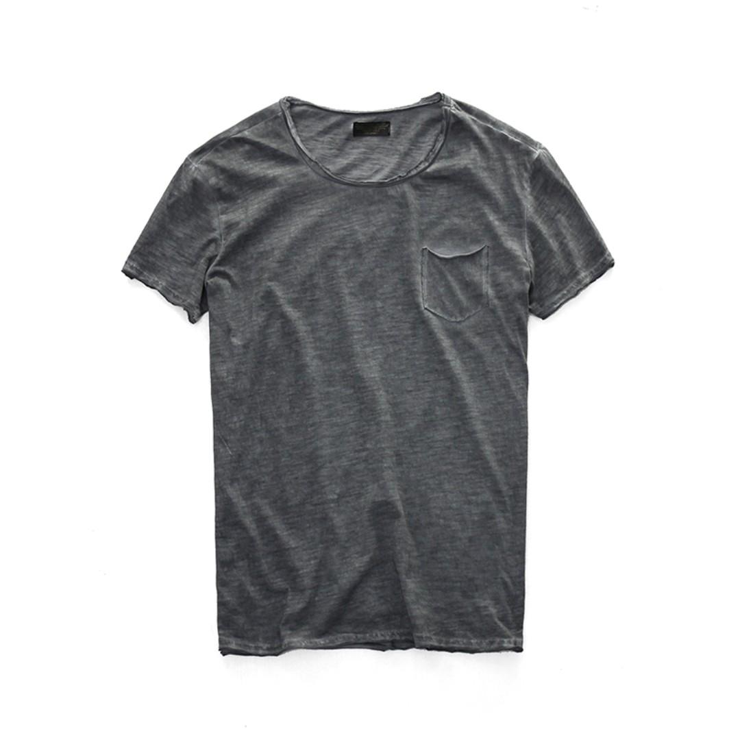 美式粗曠仿舊不收邊T-shirt 三色預購  污漬扎染工藝