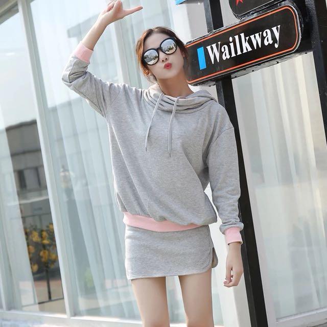 韓版新款休閒跳純棉兩件式套裝連帽上衣T恤帽吧T短褲裙