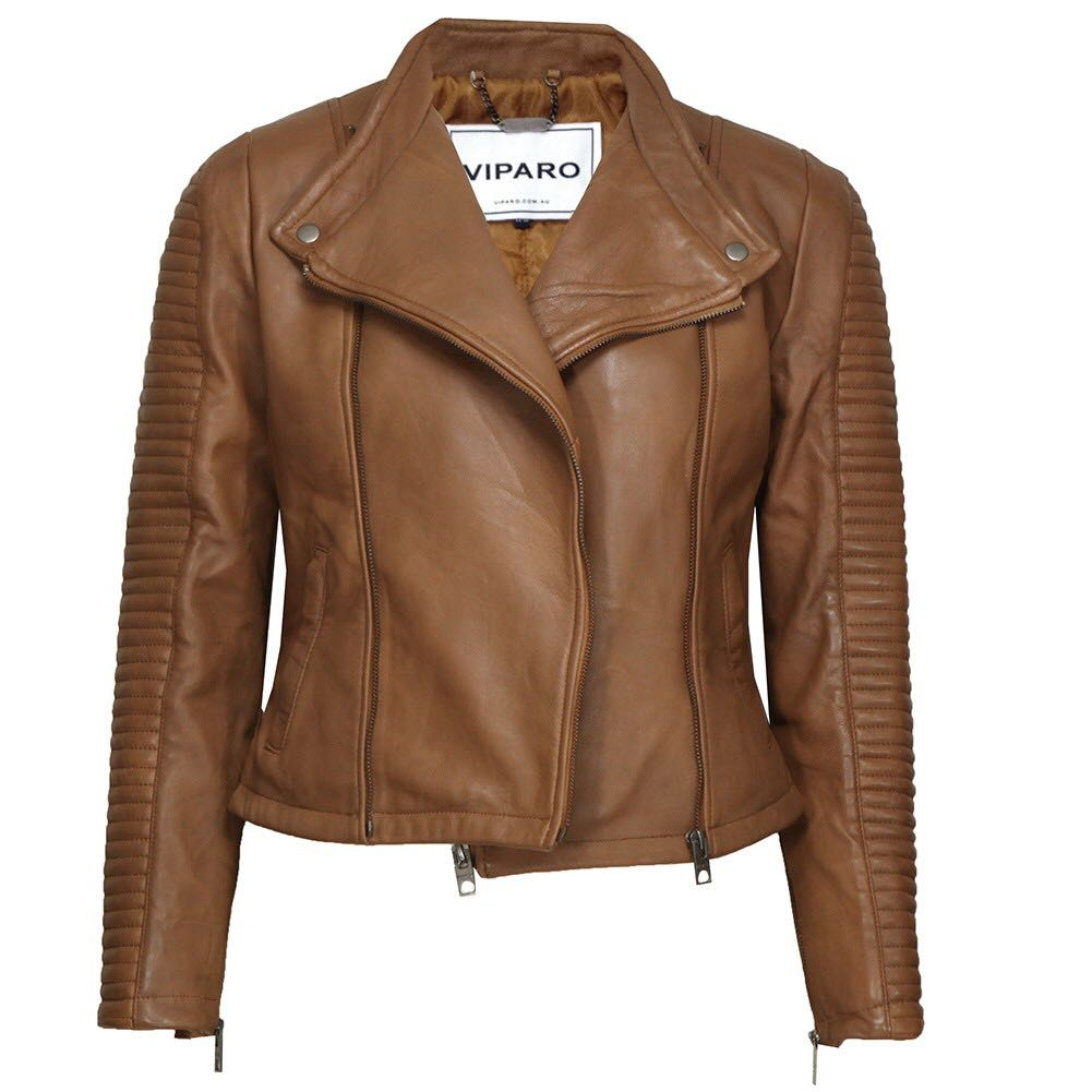 Viparo light brown rogue leather jacket