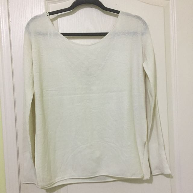 White cross back sweater