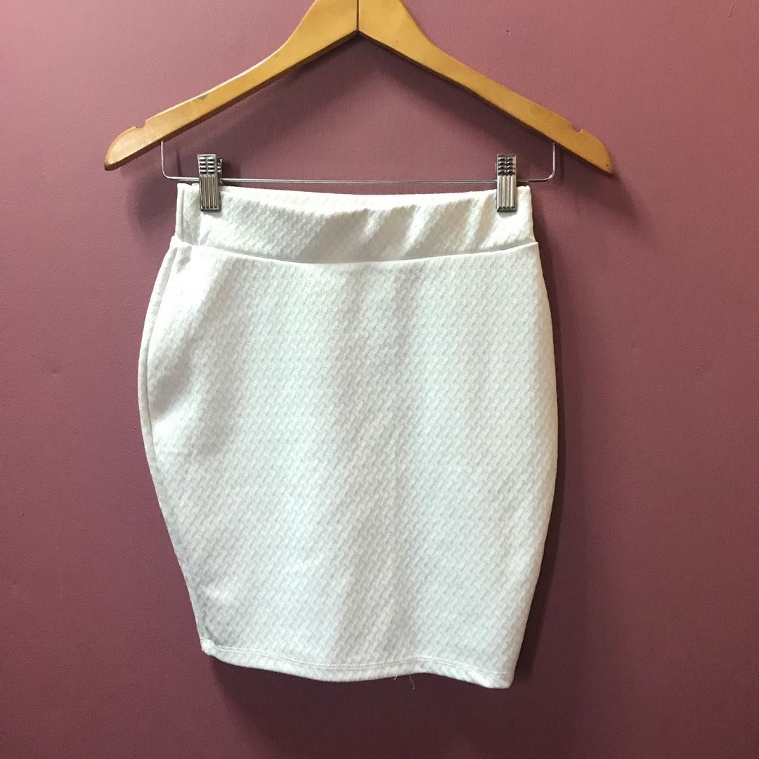 White Textured Bandage Skirt