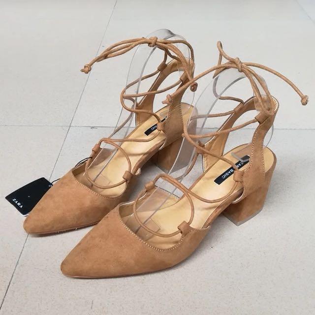 (私物)全新zara杏色綁帶粗跟高跟鞋38