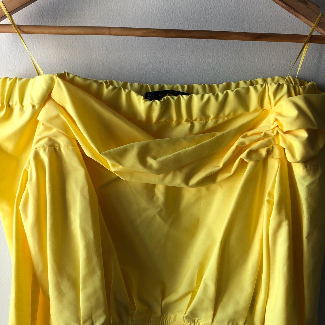 Zara Off Shoulder Top — Yellow