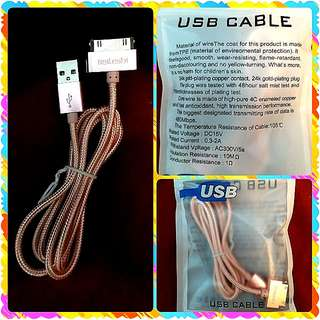 NEW USB Cable for iPhone 4s 4 Metal Plug Nylon Braided Wire Charger Cable Fast Charging Data Sync Cord for iPad 3 2  全新合金尼龍iPhone4s 快充數線