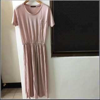 全新韓國製藕粉色棉質不起毛球舒適修身長洋裝