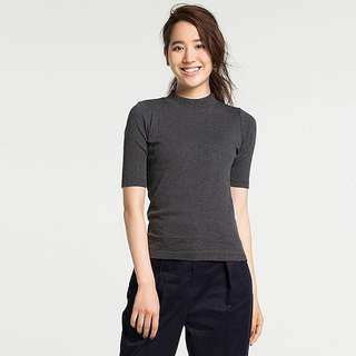 BN Uniqlo Ribbed High Neck Half Sleeve - grey and brown