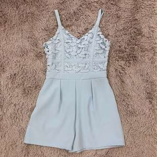 Lace Romper in baby blue