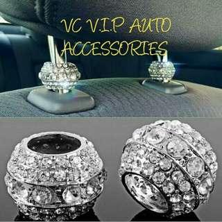 Headrest crystal collar for car interior set