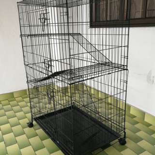 Petzoo Pet: 4-Level Cat Cage With Wheels (30 Inch L x 21 Inch W x 48 Inch H) - Black