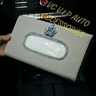 Car visor crystal crown tissue cover