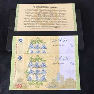 ( Pending) (Fast deal) 60th Anniversary Malaysia $60 With 2 Run