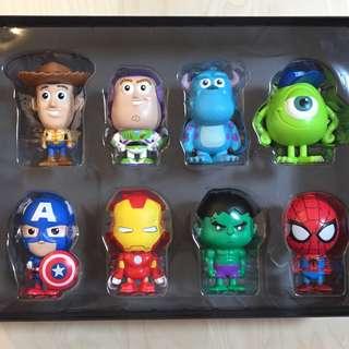 7-Eleven Marvel Heroes and Disney Pixar Figurine Pen Collector's Box Set