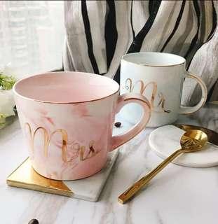 Mr Mrs 創意大理石紋陶瓷杯歐式金邊男女情侣咖啡杯 情人節 聖誕節 生日禮物