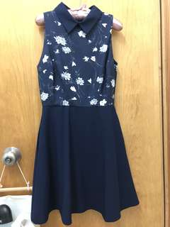 深藍色連身裙 blue floral one piece dress